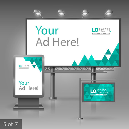 outdoor advertising: White outdoor advertising design for company with green triangles. Elements of stationery. Illustration