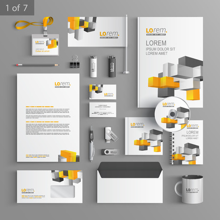 documentation: White stationery template design with color cubes. Documentation for business.