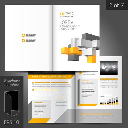 folleto: Dise�o vectorial plantilla de folleto blanca con cubos de colores