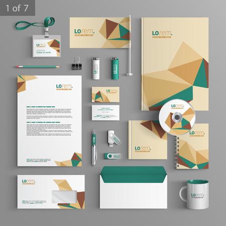 Diseño de la plantilla de vectores con elementos de papelería origami. Documentación para los negocios.