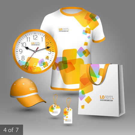 business shirts: White promotional souvenirs design for company with yellow square figures. Elements of stationery.