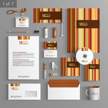 documentation: Brown stationery template design with vertical lines. Documentation for business.
