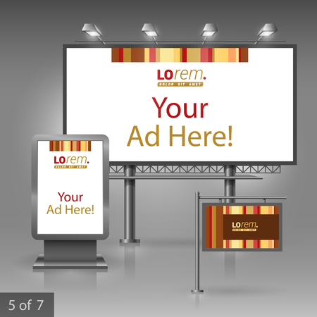 outdoor advertising: Brown outdoor advertising design for company with vertical lines. Elements of stationery.