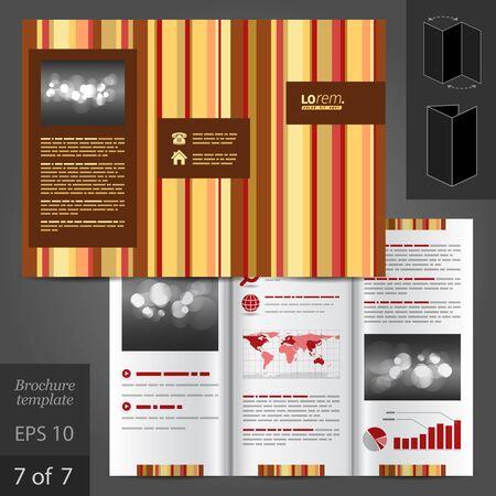 vertical lines: Brown vector brochure template design with vertical lines Illustration
