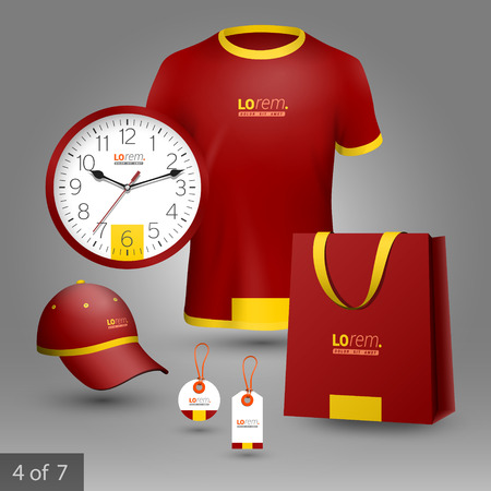 business shirts: Red classic promotional souvenirs design for company with yellow central shape. Elements of stationery. Illustration