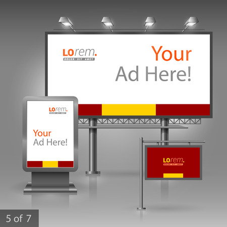 outdoor advertising: Red classic outdoor advertising design for company with yellow central shape. Elements of stationery. Illustration