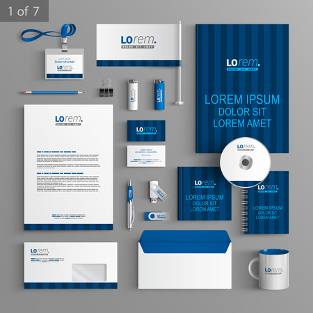 identification card: Blue stationery template design with vertical lines. Documentation for business.