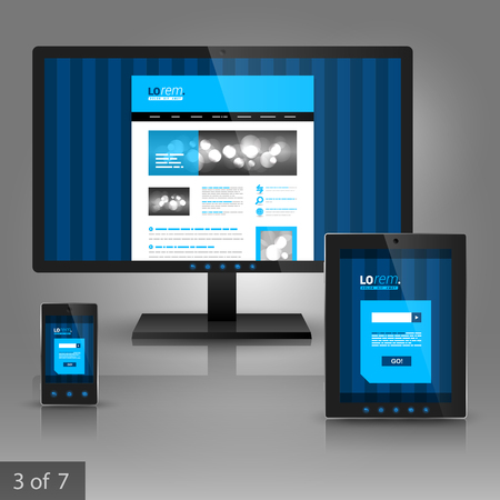 vertical lines: Blue application template design for gadgets with vertical lines. Elements of stationery.