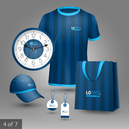 vertical lines: Blue promotional souvenirs design for company with vertical lines. Elements of stationery.