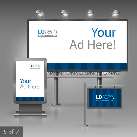 outdoor advertising: Blue outdoor advertising design for company with vertical lines. Elements of stationery.