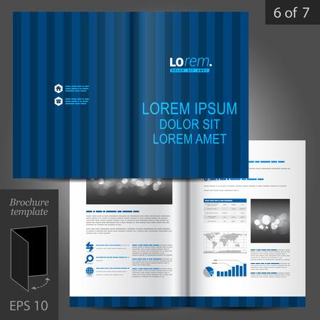 lineas verticales: Diseño vectorial plantilla de folleto azul con líneas verticales