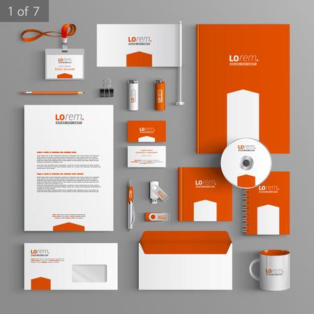 Diseño de la plantilla de papelería de naranja con la flecha blanca. Documentación para los negocios.