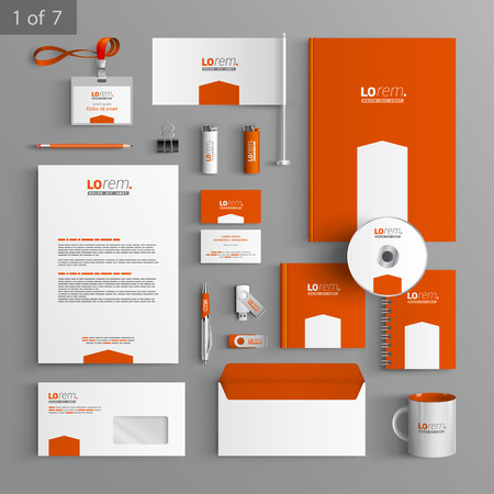 with sets of elements: Orange stationery template design with white arrow. Documentation for business.