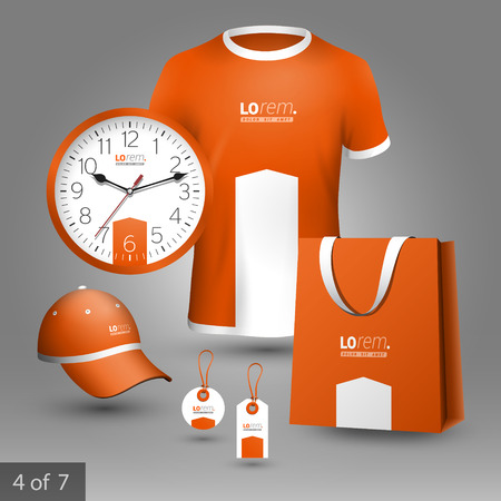 souvenirs: Orange promotional souvenirs design for company with white arrow. Elements of stationery.
