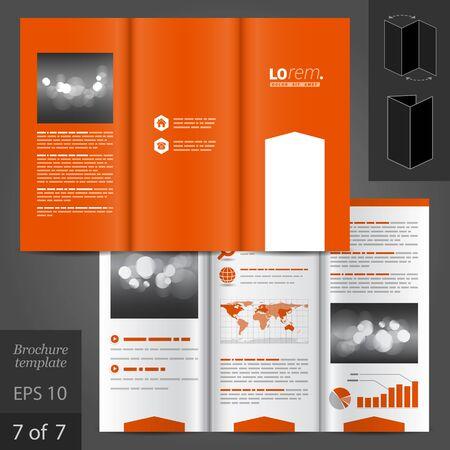 orange arrow: Orange vector brochure template design with white arrow