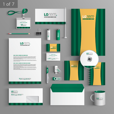 stationary set: Green stationery template design with vertical lines. Documentation for business.