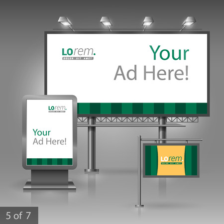 outdoor advertising: Green outdoor advertising design for company with vertical lines. Elements of stationery.