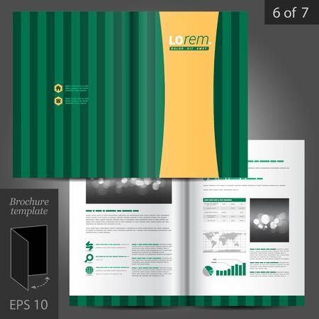 lineas verticales: Diseño del modelo del folleto del vector verde con líneas verticales