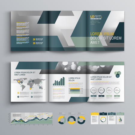 sjabloon: Grijs brochure template design met blauwe en groene geometrische vormen. Cover lay-out en infographics