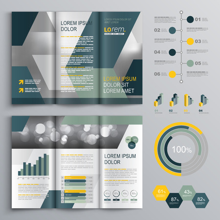 Gray brochure template design with blue and green geometric shapes. Cover layout and infographics Ilustrace