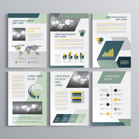 Gray brochure template design with blue and green geometric shapes. Cover layout and infographics Vectores