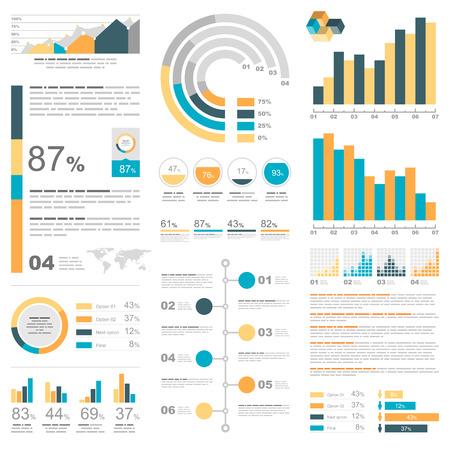 barra de bar: Infografía Blanco conjunto con elementos de color azul, amarillo y naranja. Información de vector de gráficos