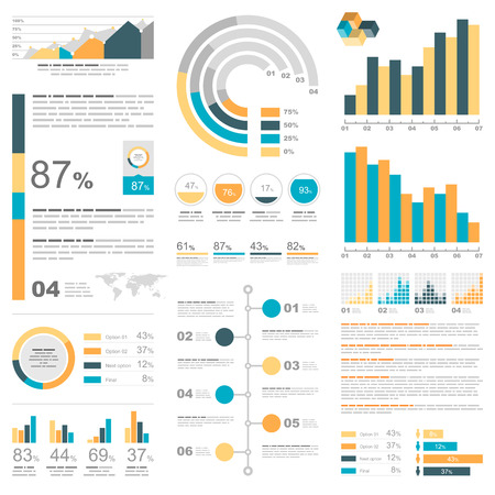 pie chart icon: White infographics set with blue, yellow and orange elements. Vector information graphics Illustration