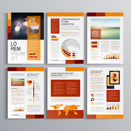 catalog background: Red brochure template design with orange vertical shapes. Cover layout and infographics