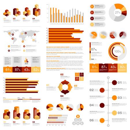 jaune rouge: Infographies blanc serti avec des �l�ments rouges, jaunes et oranges. Vector informations graphiques
