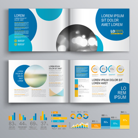circle design: White brochure template design with blue circles. Cover layout and infographics