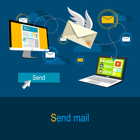 mail: Flat design illustration concept in blue colors. Sending an e-mail from one computer to another