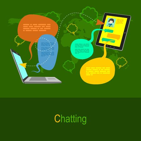 communication concept: Flat design illustration concept in green colors. Devices and social communication Illustration