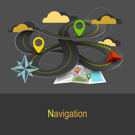 Flat design illustration concept in gray colors. Wavy highway, road markers and navigation map Illustration