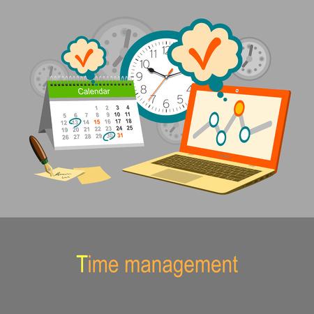 gestion del tiempo: Concepto de gesti�n del tiempo. Calendario, reloj y un ordenador port�til. Color de ilustraci�n de dise�o plano