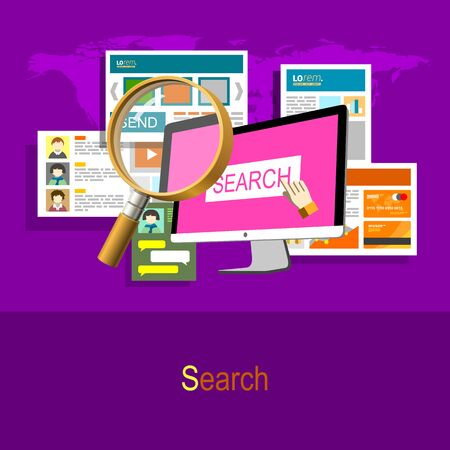 information design: Web Surfing. Magnify and searching information. Flat design illustration concept in purple colors