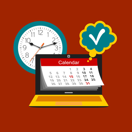 Time management concept. Calendar, watch and laptop. Color flat design illustration Ilustrace