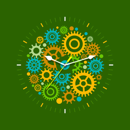 rackwheel: Time management concept with mechanical watches. Flat design illustration in green colors