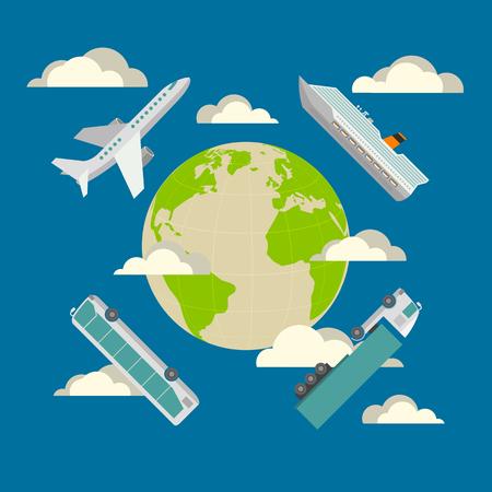 transporte: Conceito de transporte global. Avião, navio de cruzeiro, ônibus e caminhões. Projeto da ilustração do plano em cores azuis