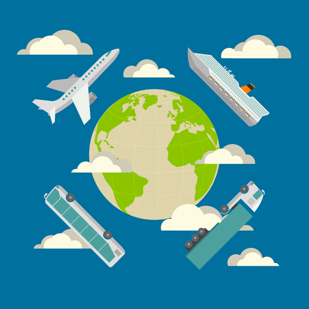 international shipping: Global transportation concept. Plane, cruise liner, bus and truck. Flat design illustration in blue colors