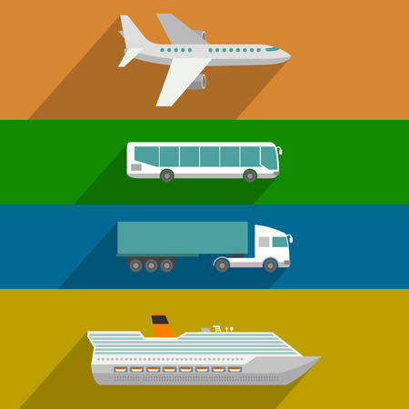 transport: Globale Transport. Flugzeug, Kreuzfahrtschiff, Bus- und LKW-Symbole. Wohnung, Design, Illustration
