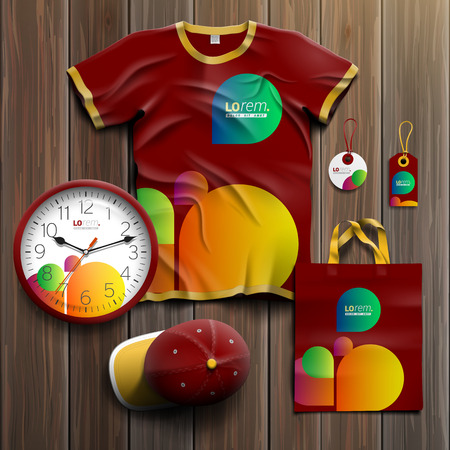 Red creative promotional souvenirs design for corporate identity with color shapes. Stationery set