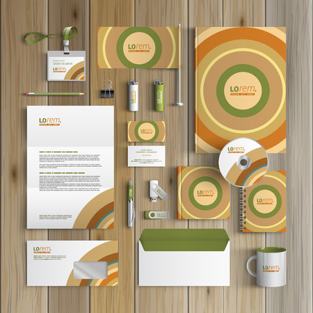 corporate identity template: Color corporate identity template design with round pattern. Business stationery