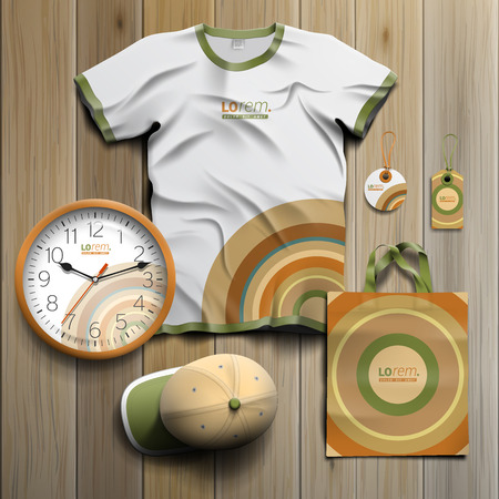 souvenirs: Color promotional souvenirs design for corporate identity with round pattern. Stationery set