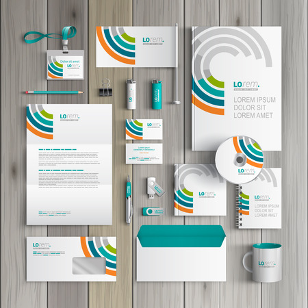 identities: White corporate identity template design with round color elements. Business stationery