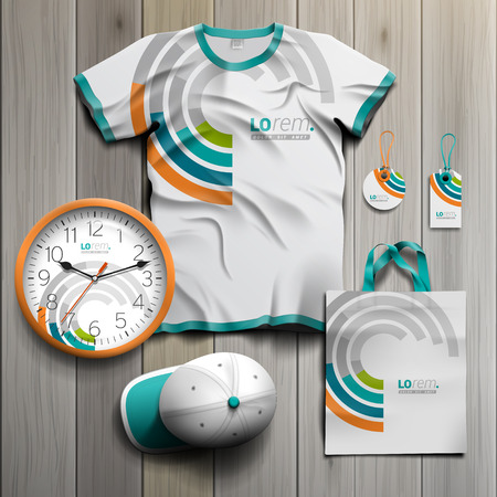 souvenirs: White promotional souvenirs design for corporate identity with round color elements. Stationery set Illustration