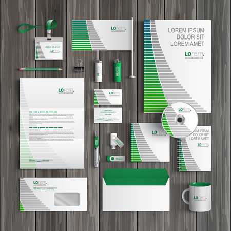 White corporate identity template design with blue and green lines. Business stationery