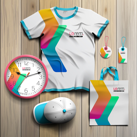souvenirs: White promotional souvenirs design for corporate identity with color geometric shapes. Stationery set Illustration