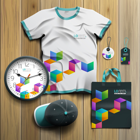 souvenirs: Black promotional souvenirs design for corporate identity with color geometric pattern. Stationery set Illustration