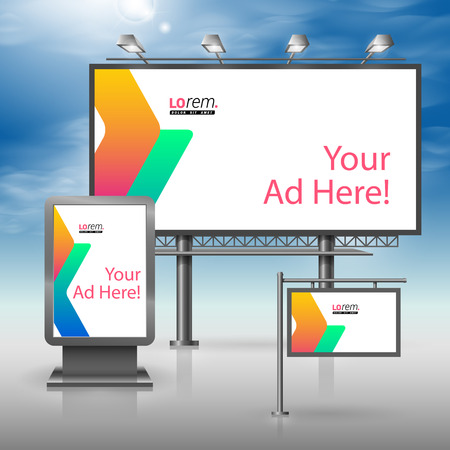 outdoor advertising: White outdoor advertising design for corporate identity with color geometric shapes. Stationery set
