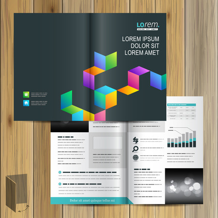 layout design template: Black brochure template design with color geometric pattern. Cover layout